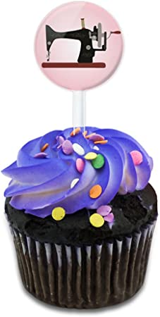 Máquina de coser Vintage fondo rosa para tartas Cupcake Toppers ...