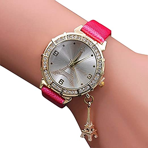 Zaidern Women Wrist Watch Womens Eiffel Tower Rhinestone Pendant Analog Quartz Classical Leather Watches Ladies Casual
