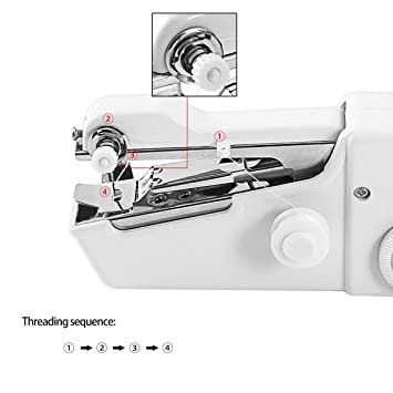 Mini Máquina de coser portátil eléctrica Máquina de coser portátil Máquina de coser a mano de tela Máquina de coser (blanco): Amazon.es: Hogar