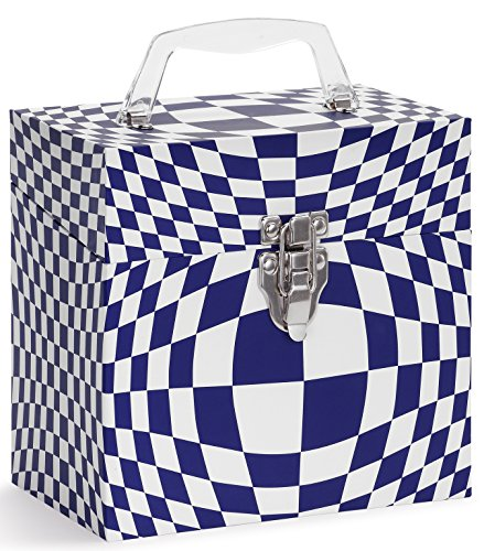 TUNES-TOTE 'Illusion Blue' 45 RPM Vinyl Record Storage - Protective Vinyl Carry Box