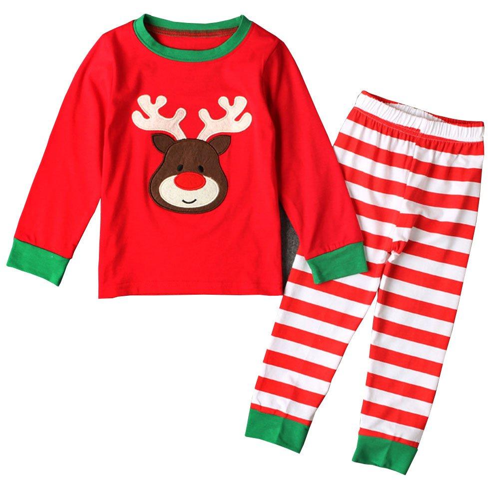9beae13947 Amazon.com  Csbks Boys Girls Christmas Pajama Sets Toddler PJS Long Sleeve  Striped Sleepwear 4T Reindeer-Red  Clothing