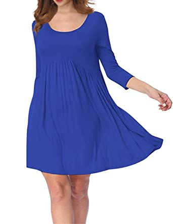 50d0ecd7bd AMZ PLUS Plus Size Scoop Neck 3 4 Sleeve Pleated Tunic Casual Midi Dress for