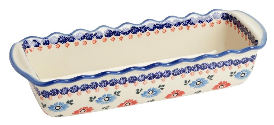 Polish Pottery Blue and Red Floral Large Fluted Loaf Pan 15.5''L x 5.75''W x 3.25''H (64-oz. capacity)