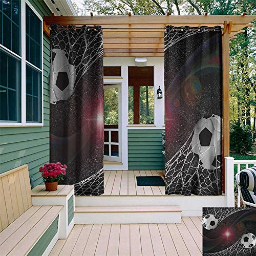 Teen Room, Outdoor Curtain Pole, Soccer Balls Goal Match Success Concept in The Outer Space Winner Glory Theme, Set for Patio Waterproof W96 x L108 Inch Multicolor - Match Pole Curtain