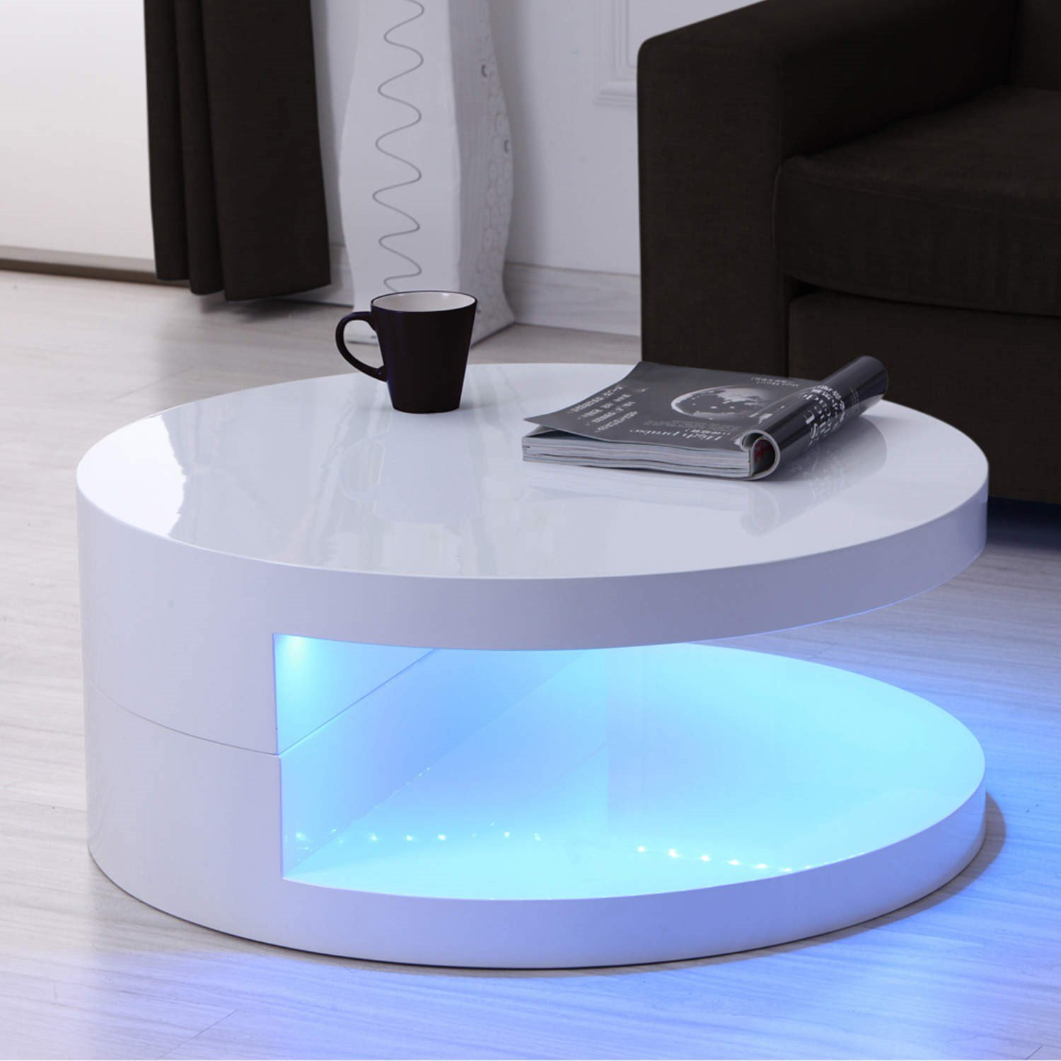 Tiffany LED Round Top White High Gloss Coffee Table 80x80cm