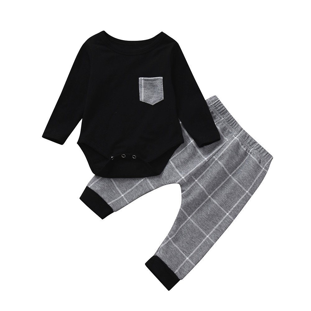 Boys Clothing Sets, SHOBDW Toddler Baby Girls Casual Long Sleeve Plaid Print Tops + Pants Winter Autumnal Cotton Outfits Clothes SHOBDW-029