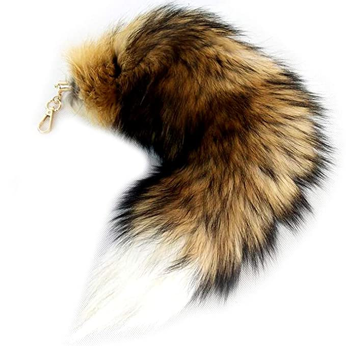 Amazon.com: Valpeak - Llavero de cola de zorro real de 16.9 ...