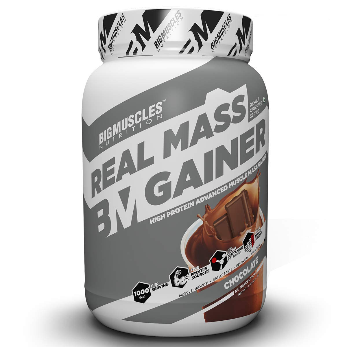 Bigmuscles Nutrition Real Mass Gainer [1Kg, Chocolate], Lean