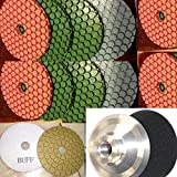 4 Inch Diamond ULTRA Thick (5.5mm Thick) Polishing Pad 40 Pieces 3 Pieces Aluminum Back 5 glaze buffing pad Granite marble Stone Concrete Travertine floor renew fits toolsmart metabo hardin secco damo