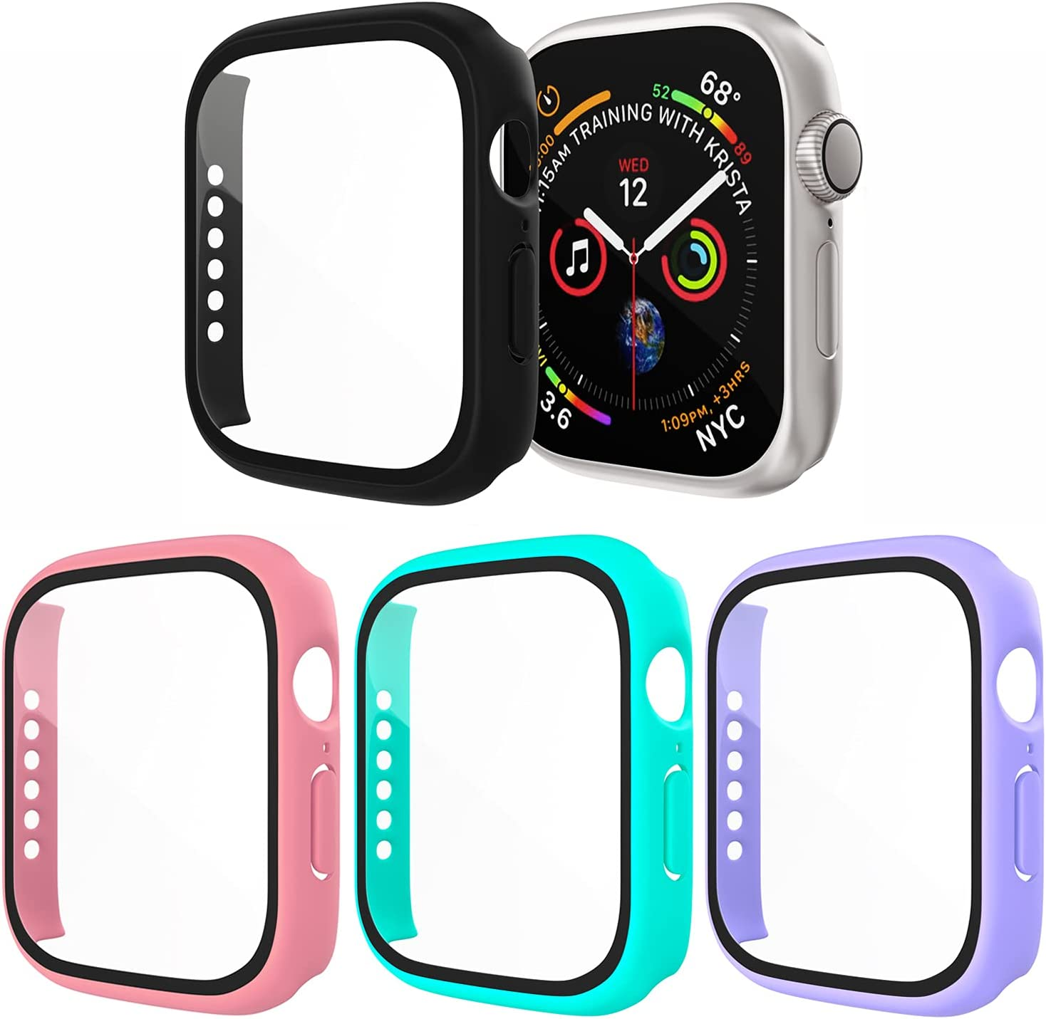[4 Pack] Exclusives Compatible with Apple Watch 38mm Case, Full Coverage Bumper Protective Case with Screen Protector for Men Women iWatch Series 3/2/1, Black, Pink, Lavender, Turquoise