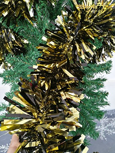 Foil Star Christmas (ShinyBeauty Tinsel-Metallic-Foil-Garland-6.5-Feet long-Gold&Black for Children's Party Decoration-TG003)