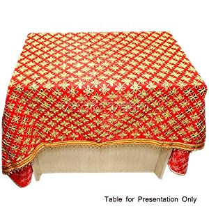 Red Silk Table Cloth For Puja Decoration Vedic Vaani