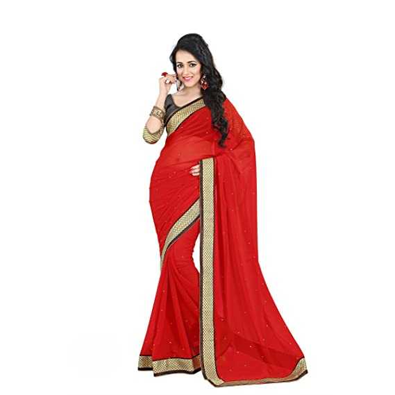 50ef0773ba Red Color Lace & Stone work Georgette Saree with Blouse Piece: Amazon.in:  Clothing & Accessories
