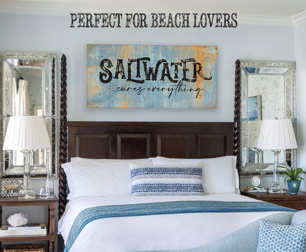 Saltwater Cures Everything Ready to Hang Perfect Above a Couch or Headboard Housewarming Gift and Beach House Decor Large Canvas Not Printed on Metal - Stretched on a Heavy Wood Frame
