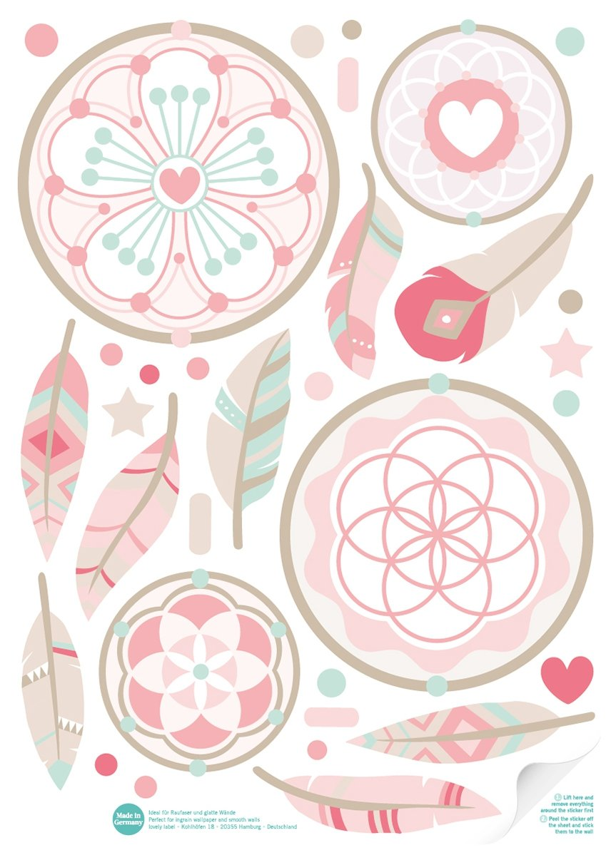 lovely label Dream Catcher Wall Stickers - PVC-Free Laminate Self-Adhesive Wall Art - Girls Wall Decals Boho Chic w/50 Stickers, Pink, Beige & Mint