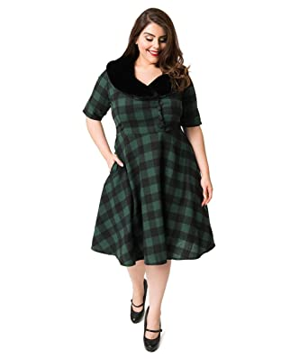f09ed647f39c Image Unavailable. Image not available for. Color: Plus Size 1950s Style  Green & Black Buffalo Plaid Swing Dress & Fur Collar