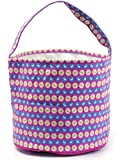 Easter Egg Hunt Basket Bag - childs reusable bucket baskets - kids party gift bags - baby shower & book storage - grocery shopping and more by Jolly Jon Products (Pink with Bunnies)