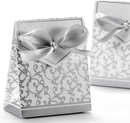 Anyasen 50 piezas caja regalo papel cajas de favor partido caja regalo los favores los dulces caramelos bombones confeti los regalos joyería para fiesta bienvenida bebé boda comunión navidad(Plata): Amazon.es: Oficina y