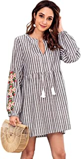 Vestido De Otoño Moda Cuello En Bordado Embarazo V Collage Rayas Ocasionales Cordón Cintura Cintura Larga None