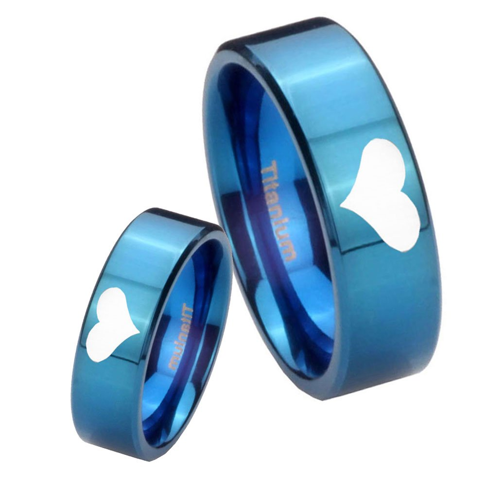 Size 4 to 13 6MM, 8MM Blue IP Titanium Heart Symbol Pipe Cut Engraved Ring