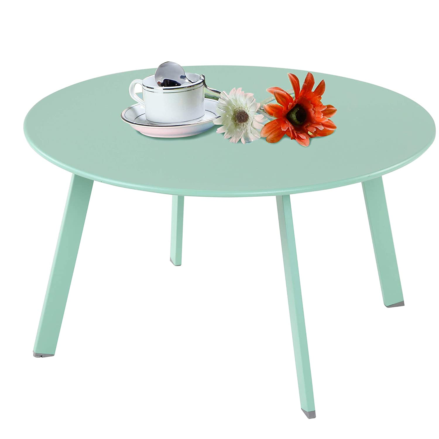 Grand patio Steel Patio Coffee Table, Weather Resistant Outdoor Side Table, Large Sized Round End Tables, Mint Green