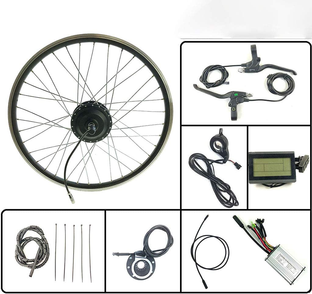 GJZhuan Rueda Delantera Motor 24V 250W Bicicleta eléctrica E Bike Kit de conversión con KT LCD3 Display 16-28 Pulgadas 700C Kit E-Bici,26inch LCD Sets