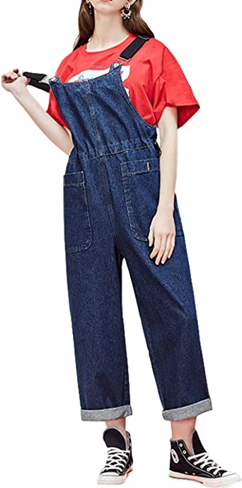 Fubotevic Womens Stretch Denim Overalls Fashion Wide Leg Baggy Long Jumpsuits