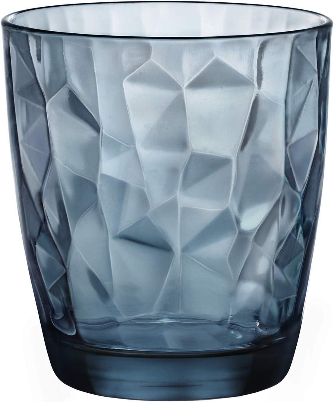 Diamond Blue - Vaso para Whisky, 39 cl,Pack con 6vasos