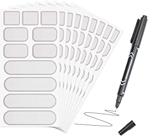 BILLIOTEAM 264 PCS Removable Waterproof Food Labels Stickers with Marker Pen,Kitchen Labels for POP Food Storage Containers,Home and Office Organization(3 Sizes,24 Sheets) (Grey)