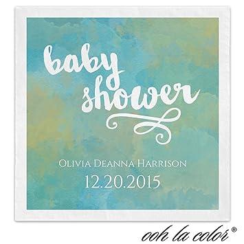 Vivid acuarela bebé ducha personalizada bebidas Ooh La color servilletas - Toldo calle - 100 personalizado impreso servilletas de papel azul: Amazon.es: ...