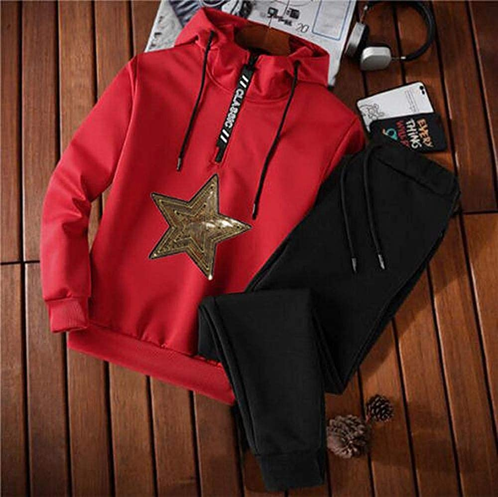 ALLAK Mens Hooded Tracksuit Warm Pullover Jogging Running Sweat Suits