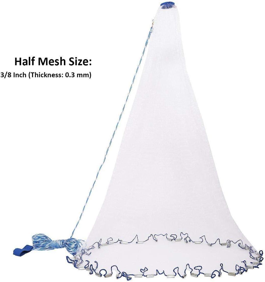 Amarine Made Freshwater Saltwater Fishing Cast Net for Bait Trap Fish,3//8 Square Mesh,4 Feet Net