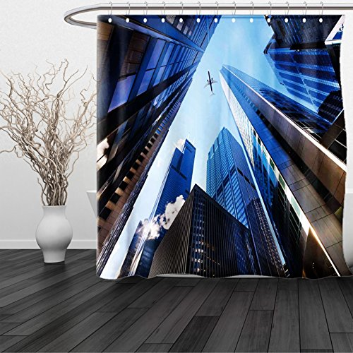 HAIXIA Shower Curtain Urban Looking Up at Chicagos Skyscrapers in Financial District American City Picture Blue - Glasses Vercase