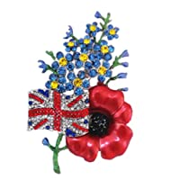 Jay Jewellery - LARGE FORGET ME NOT UK FLAG SYMBOLIC RED POPPY DIAMANTE CRYSTAL BROOCH PIN