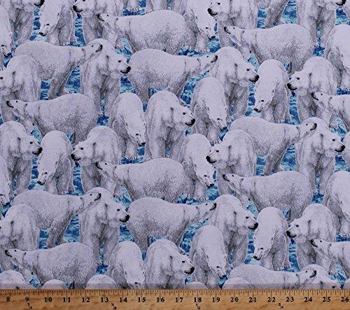 Cotton Polar Bears Bear Arctic Animals Carnivores Marine Mammals Wildlife Nature Snow Ice Winter Northern Lights Cotton Fabric Print by the Yard (1649-24424-B)