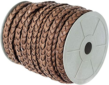 Craft County Round Leather Cord 3mm Red Brown, 10 Yards