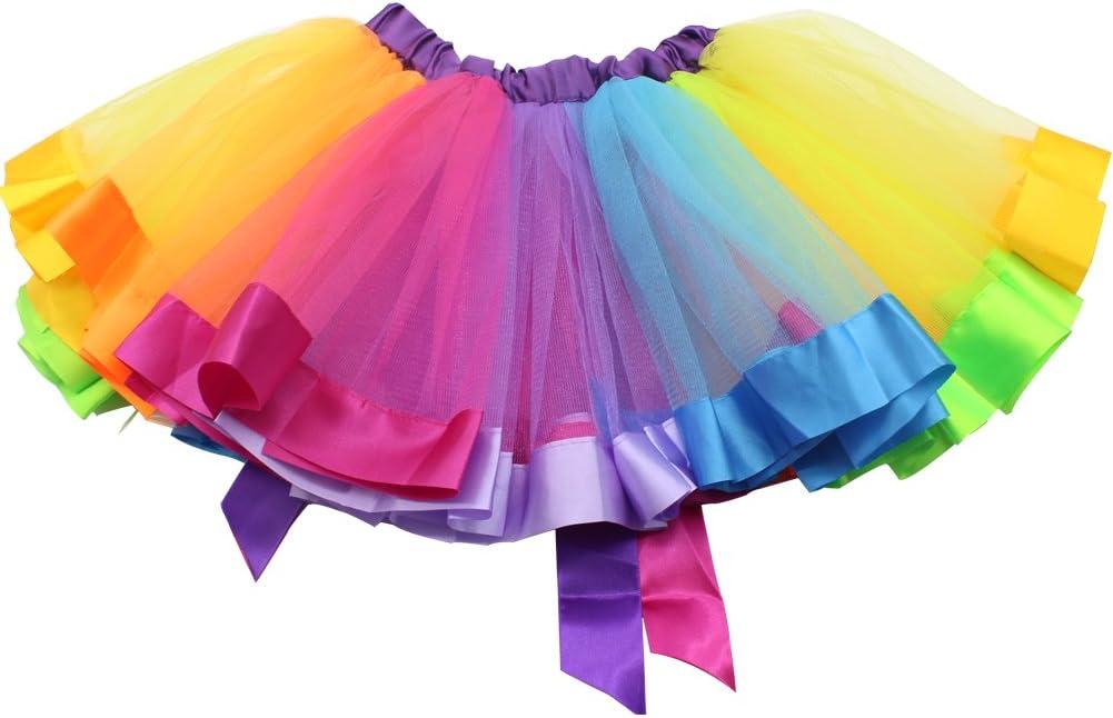 SHABEI Ni/ñas Arco Iris tut/ú Falda Chicas Faldas Ballet Ropa de Baile Volantes Tiered Tul Pettiskirt Clubwear