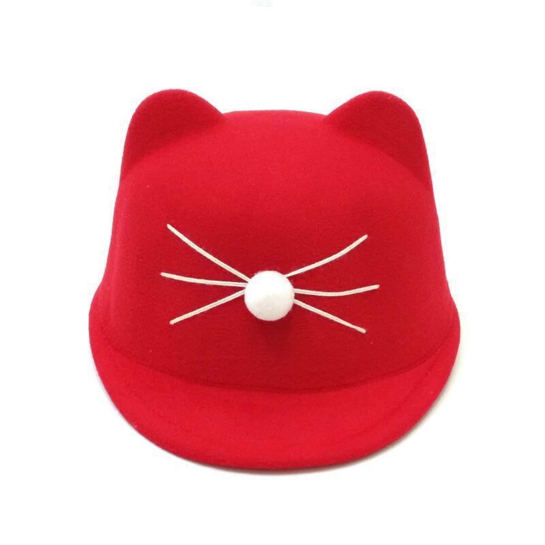 Amazon.com  Wool Fedora Hat Winter Devil Horns Cute Cat Ear Animal Derby  Bowler Lovely Cap  Clothing c75e9978008c