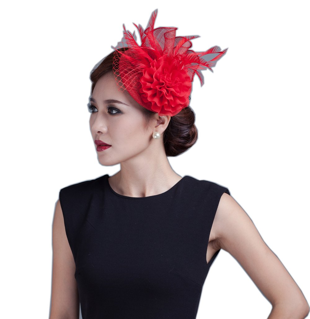 YSJOY Elegant Sinamay Veil Flower Feather Fascinator Hat Wedding Party Hat Kentucky Hat (Red)