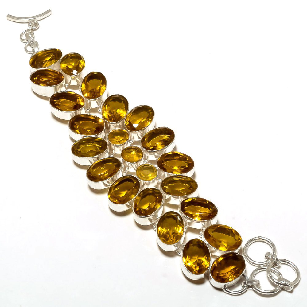Yellow Citrine Quartz Sterling Silver Overlay 61 Grams Bracelet 7-9 Outstanding Handmade Jewelry