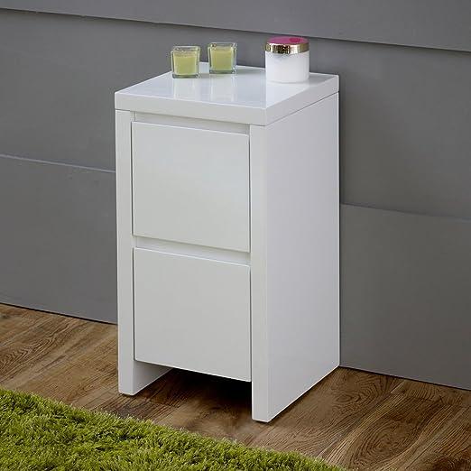 Blanco de alto brillo delgado 2 cajón – mesita de noche: Amazon.es ...