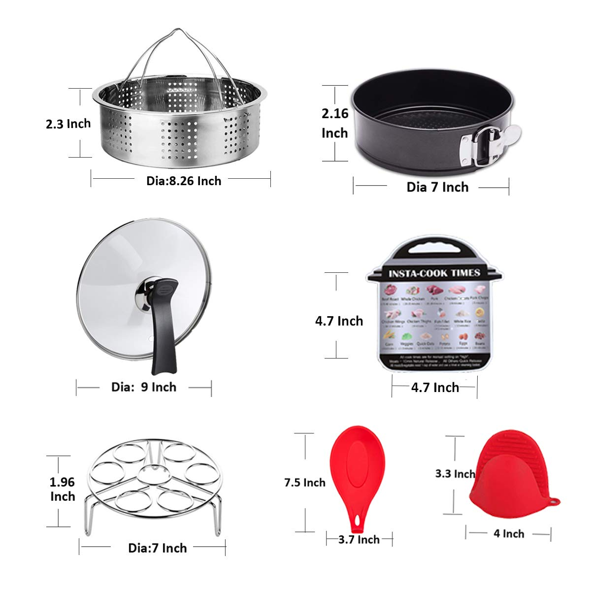 ULEE Accessories Compatible with Instant Pot 6 Qt - Including Steamer Basket, Glass Lid, Springform Pan, Egg Rack, Oven Mitts, Magnetic Cheat Sheet, Spoon Rest by ULEE (Image #6)