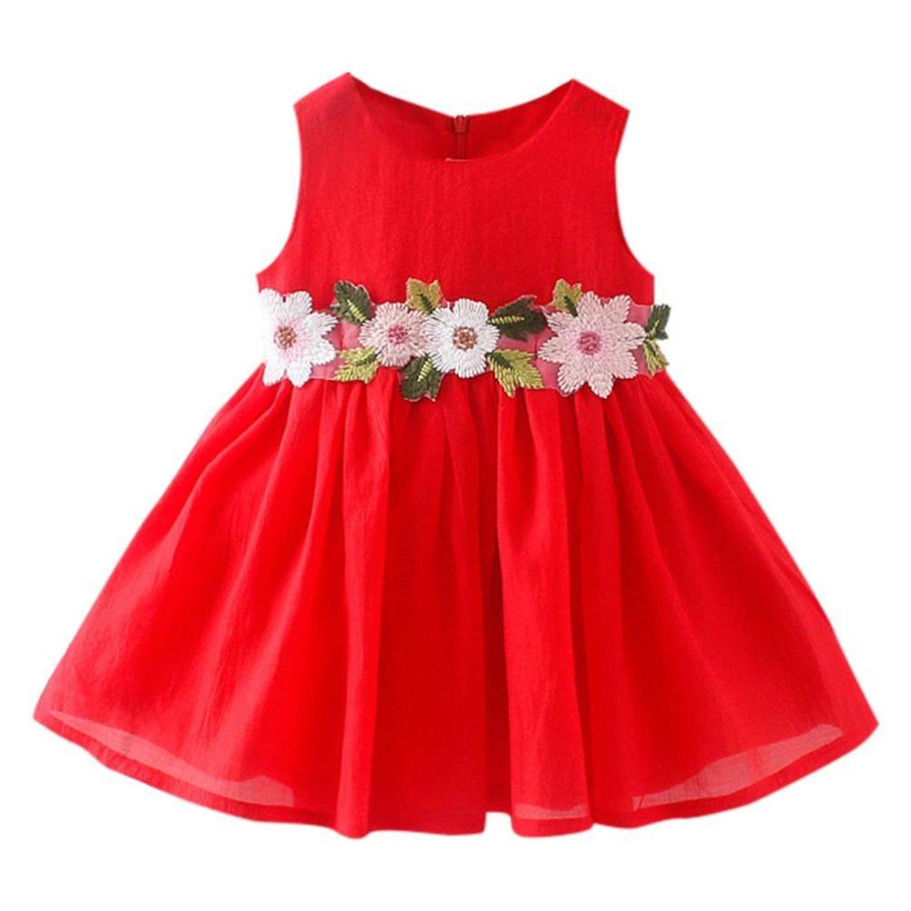 TiTCool Little Girls Dresses, Toddler Summer Dress Sleeveless Cute Waist Flowers Sundress for 2-4 Years Old (4T, RED)