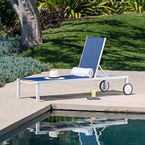 Mōd Furniture PYTNCHS-W-NVY W Peyton Sling Armless Chaise Lounge in White/Navy Outdoor Furniture, Navy Blue