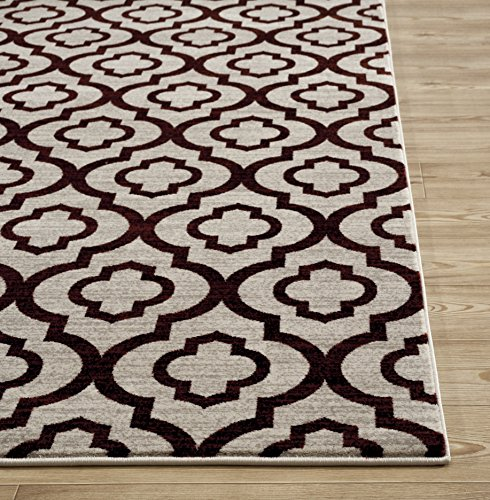 Rugshop New Moroccan Trellis Pattern Soft Area Rug, 5'3″ x 7'3″, Red
