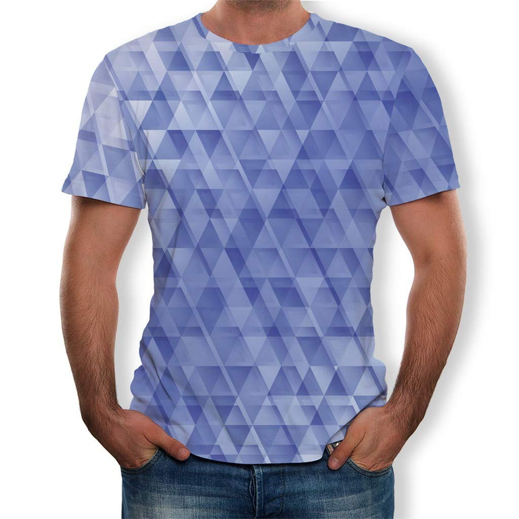 NUWFOR Fashion Mens Splash-Ink 3D Printing Tees Shirt Short Sleeve T-Shirt Blouse Tops(Blue,M US/L AS Bust:40.1''