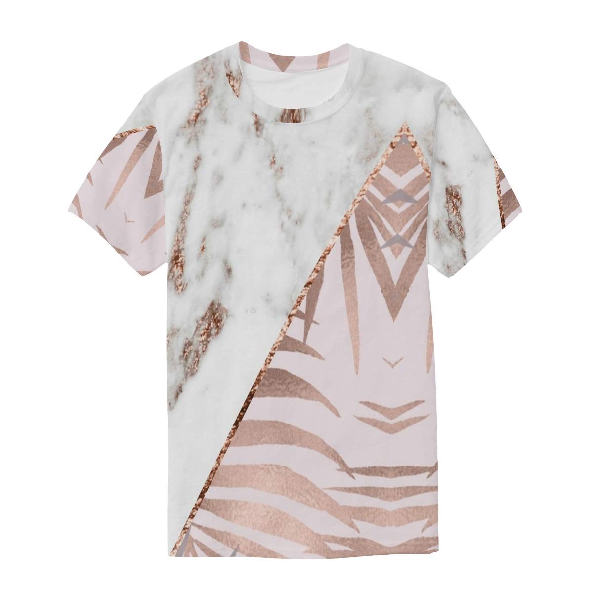 Horatiood Huberyyd Rose Gold Marble Tropical Mens T Shirts Graphic Funny Body Print Short T-Shirt Unisex Pullover Blouse