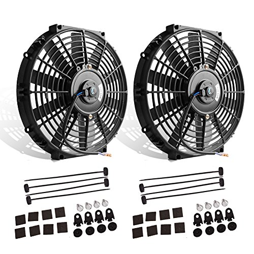 "Price comparison product image (Pack of 2) 12"" High Performance Electric Radiator Cooling Fan Push Pull Slim 12V 80W 1550 CFM with Mounting KitDiameter 11.73"" Depth 2.56"")"