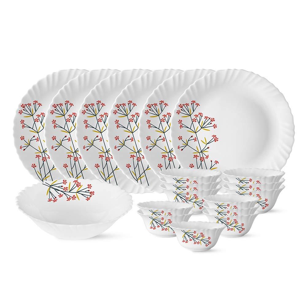 Larah by Borosil Red Bud Silk Series Opalware Dinner Set, 19 Pieces, White