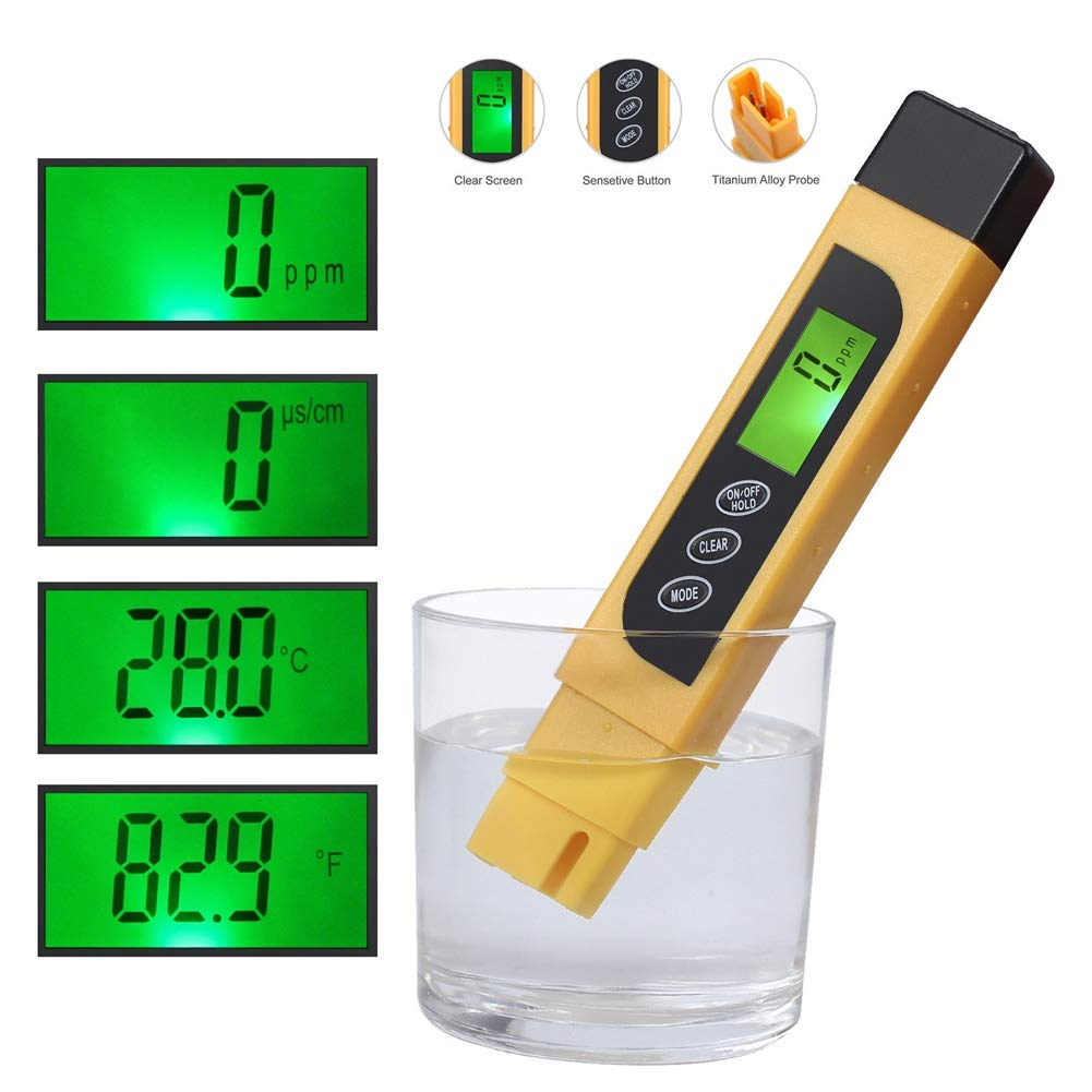 SHOPPER's CHOICE 3in1 Digital Pen Tester Water Quality Hardness Test Total Dissolved Solids Electrical Conductivity & Temperature Meter Check Kit TDS PPM EC Aquarium Pool Plants Read Instrument
